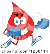 Cartoon Of A Happy Blood Or Hot Water Drop Running In Boxing Gloves Royalty Free Vector Clipart