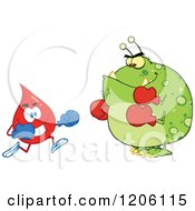 Cartoon Of A Blood Or Hot Water Drop Boxer Fighting A Germ Royalty Free Vector Clipart