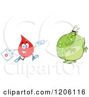 Cartoon Of A Happy Blood Or Hot Water Drop Chasing A Virus With A Syringe Royalty Free Vector Clipart
