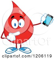 Cartoon Of A Happy Blood Or Hot Water Drop Holding A Cell Phone Royalty Free Vector Clipart