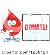Cartoon Of A Happy Blood Drop Holding A Donate Sign 2 Royalty Free Vector Clipart