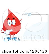 Cartoon Of A Happy Blood Or Hot Water Drop Holding A Sign 2 Royalty Free Vector Clipart