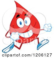 Cartoon Of A Happy Blood Or Hot Water Drop Running Royalty Free Vector Clipart