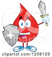Cartoon Of A Happy Blood Or Hot Water Drop With A Shield And Sword Royalty Free Vector Clipart