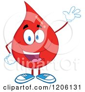 Cartoon Of A Happy Blood Or Hot Water Drop Waving Royalty Free Vector Clipart