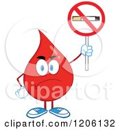 Cartoon Of A Mad Blood Or Hot Water Drop Holding A No Smoking Sign Royalty Free Vector Clipart