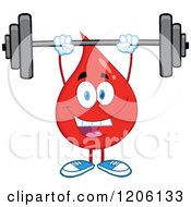 Cartoon Of A Happy Blood Or Hot Water Drop Lifting A Barbell Royalty Free Vector Clipart
