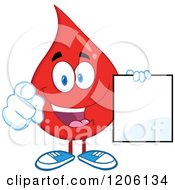 Cartoon Of A Happy Blood Or Hot Water Drop Holding A Sign 3 Royalty Free Vector Clipart