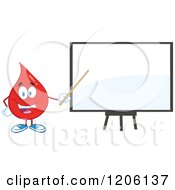 Cartoon Of A Happy Blood Or Hot Water Drop Pointing To A White Board Royalty Free Vector Clipart