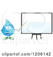 Cartoon Of A Happy Blue Water Drop Pointing To A White Board Royalty Free Vector Clipart