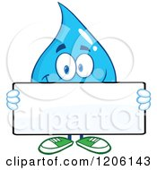 Cartoon Of A Happy Blue Water Drop Holding A Sign Royalty Free Vector Clipart
