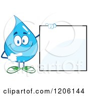 Cartoon Of A Happy Blue Water Drop Pointing At And Holding A Sign Royalty Free Vector Clipart