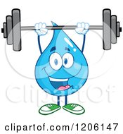 Cartoon Of A Happy Blue Water Drop Lifting A Barbell Weight Royalty Free Vector Clipart