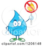 Cartoon Of A Mad Blue Water Drop Holding A No Fire Sign Royalty Free Vector Clipart
