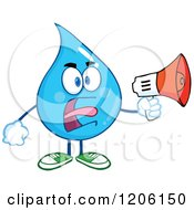 Cartoon Of A Mad Blue Water Drop Making An Announcement Royalty Free Vector Clipart by Hit Toon