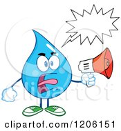 Cartoon Of A Mad Blue Water Drop With A Word Balloon Making An Announcement Royalty Free Vector Clipart by Hit Toon