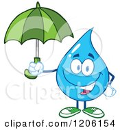 Cartoon Of A Happy Blue Water Drop Holding An Umbrella Royalty Free Vector Clipart