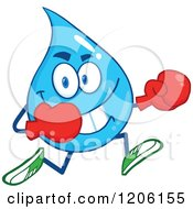 Cartoon Of A Happy Blue Water Drop Running In Boxing Gloves Royalty Free Vector Clipart by Hit Toon