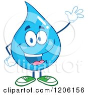 Cartoon Of A Happy Blue Water Drop Waving Royalty Free Vector Clipart