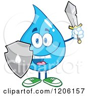 Cartoon Of A Happy Blue Water Drop With A Sword And Shield Royalty Free Vector Clipart