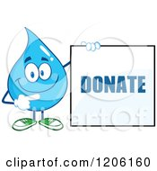 Cartoon Of A Happy Blue Water Drop Holding A Donate Sign Royalty Free Vector Clipart