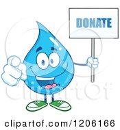 Cartoon Of A Happy Blue Water Drop Holding A Donate Sign 2 Royalty Free Vector Clipart