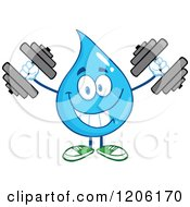 Cartoon Of A Happy Blue Water Drop Lifting Dumbbell Weights Royalty Free Vector Clipart