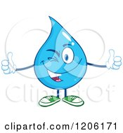 Cartoon Of A Happy Blue Water Drop Winking And Holding Two Thumbs Up Royalty Free Vector Clipart