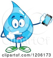 Cartoon Of A Happy Blue Water Drop Holding And Pointing To A Cell Phone Royalty Free Vector Clipart