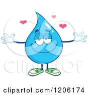 Cartoon Of A Happy Blue Water Drop Wanting A Hug Royalty Free Vector Clipart