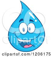 Cartoon Of A Happy Blue Water Drop Royalty Free Vector Clipart