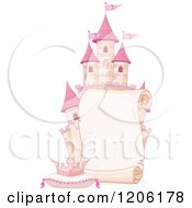 Cartoon Of A Scroll Sign Over A Pink Fantasy Castle With A Tiara On A Pillow Royalty Free Vector Clipart by Pushkin