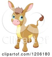 Cartoon Of A Cute Baby Donkey With Blue Eyes Royalty Free Vector Clipart