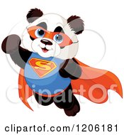 Cartoon Of A Cute Flying Baby Super Panda To The Rescue Royalty Free Vector Clipart by Pushkin
