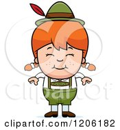 Cartoon Of A Happy Red Haired Oktoberfest German Girl Royalty Free Vector Clipart
