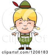 Cartoon Of A Happy Blond Oktoberfest German Girl Royalty Free Vector Clipart