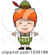 Cartoon Of A Happy Red Haired Oktoberfest German Boy Royalty Free Vector Clipart