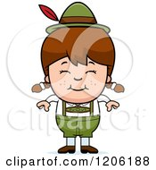 Cartoon Of A Happy Brunette Oktoberfest German Girl Royalty Free Vector Clipart