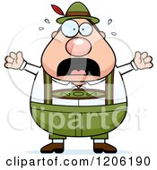 Cartoon Of A Scared Chubby Oktoberfest German Man Royalty Free Vector Clipart