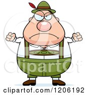 Cartoon Of A Mad Chubby Oktoberfest German Man Royalty Free Vector Clipart