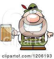 Cartoon Of A Happy Short Oktoberfest German Man Holding A Beer Royalty Free Vector Clipart