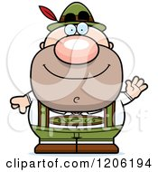 Cartoon Of A Happy Waving Short Oktoberfest German Man Royalty Free Vector Clipart