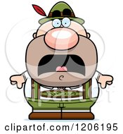 Cartoon Of A Scared Short Oktoberfest German Man Royalty Free Vector Clipart