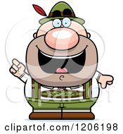 Cartoon Of A Happy Short Oktoberfest German Man With An Idea Royalty Free Vector Clipart