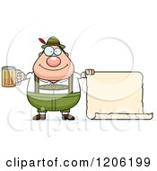 Cartoon Of A Happy Chubby Oktoberfest German Man Holding A Beer And Sign Royalty Free Vector Clipart