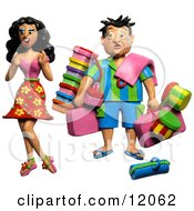 Clay Sculpture Clipart High Maintenance Woman Having Her Husband Carry All Of Her Travel Luggage Royalty Free 3d Illustration by Amy Vangsgard #COLLC12062-0022