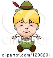 Cartoon Of A Happy Blond Oktoberfest German Boy Sitting Royalty Free Vector Clipart