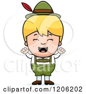 Cartoon Of A Happy Blond Oktoberfest German Boy Cheering Royalty Free Vector Clipart