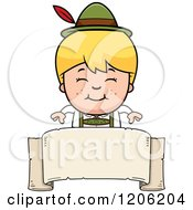 Cartoon Of A Happy Blond Oktoberfest German Boy Over A Banner Royalty Free Vector Clipart