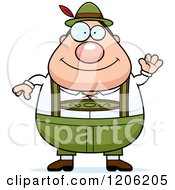 Cartoon Of A Waving Chubby Oktoberfest German Man Royalty Free Vector Clipart